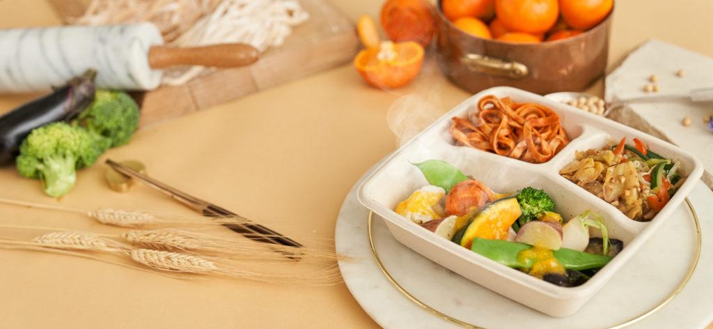 彩り野菜のグリル みかんのソース+大豆パスタ