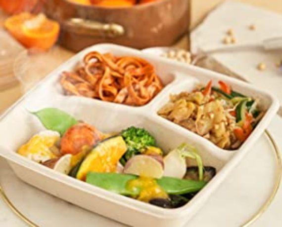彩り野菜のグリルみかんのソース+大豆パスタ